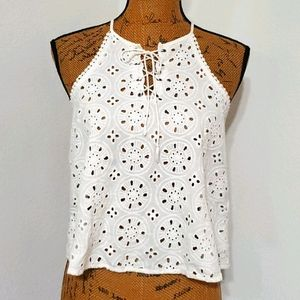 HOLLISTER•white eyelet lace up detail•Small